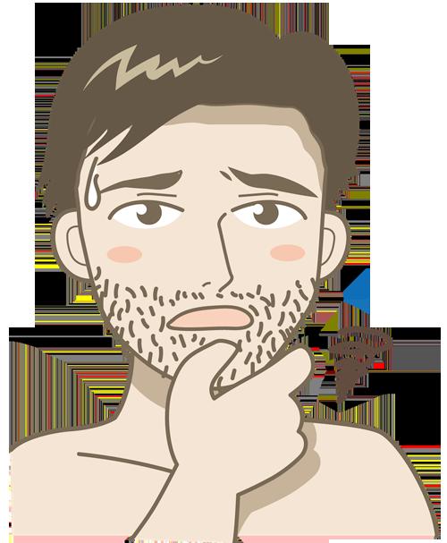 ひげが伸びているイラスト